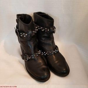 "Sam Edelman ""ADELE"" Black Metal Spike Moto Boots 9"